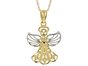 14K Yellow Gold and White Rhodium Accent Angel Pendant with 18 Inch Singapore Chain