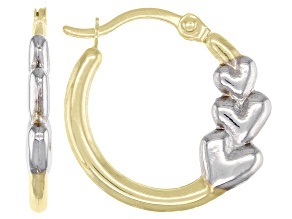 14K Yellow and 14K White Gold 15MM Triple Graduated Heart Hoops Earrings
