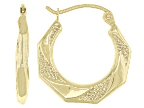 14K Yellow Gold 3X11MM Octagonal Polish and Textured Tube Hoop Earrings