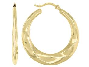 14K Yellow Gold 4-2MM Graduated 17MM Round Tube Hoop Earrings