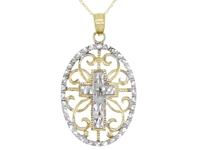 10K Yellow Gold and Rhodium Over 10K Yellow Gold Diamond-Cut Cross Pendant with Chain