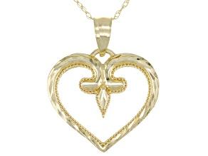 10K Yellow Gold Diamond-Cut Heart Pendant with Chain