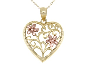 10K Yellow Gold Flower Heart Pendant with Chain
