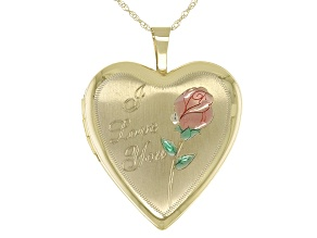 10K Yellow Gold Heart Photo Locket Pendant with Chain