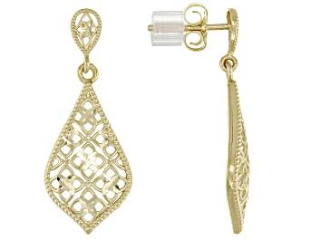 Picture of 14K Yellow Gold Diamond-Cut Teardrop Filigree Dangle Earrings