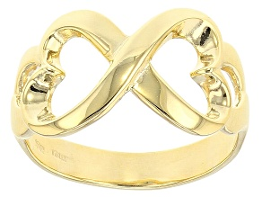 10k Yellow Gold Heart Ribbon Band Ring