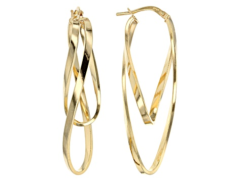 Splendido Oro™ Divino 14k Yellow Gold Ballerina Hoops With A Sterling Silver Core