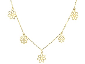 Splendido Oro™ 14k Yellow Gold Flower Station 18 inch Necklace.