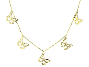 Splendido Oro™ 14k Yellow Gold Butterfly Station 18 inch Necklace