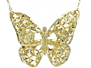Splendido Oro™ 14k Yellow Gold Diamond Cut Butterfly 18 inch Necklace