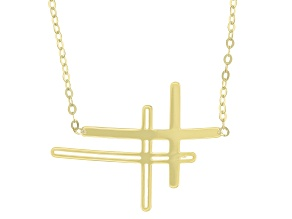 Splendido Oro™ 14k Yellow Gold Sideways Double Cross 18 inch Necklace