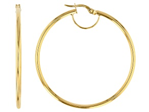 Splendido Oro™ 14k Yellow Gold High Polished 40mm Tube Hoop Earrings