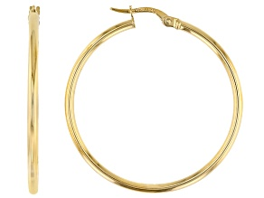 Splendido Oro™ 14k Yellow Gold High Polished 30mm Tube Hoop Earrings
