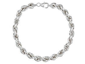Splendido Oro™ 14K White Gold 6.10MM Royal Rope Link 7.5 Inch Bracelet