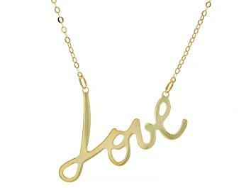 "Picture of Splendido Oro™ 14K Yellow Gold ""Love"" Script 18 Inch Cable Chain Necklace"