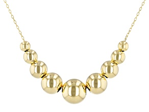 14K Yellow Gold Graduated Bead 18 Inch Necklace