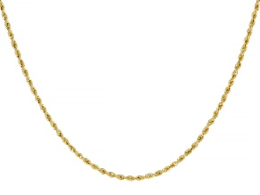 18K Yellow Gold 1.6MM Laser-Cut Rope 20 Inch Chain