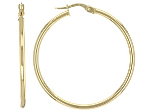 18K Yellow Gold High Polished Tube Hoop Earrings