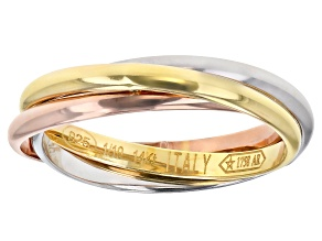 14K Tri-Color Gold with Sterling Silver Core High Polished Rolling Band Rings