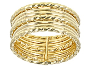 Splendido Oro Divino™ 14K Yellow Gold with Sterling Silver Core Multi-Row Band Ring