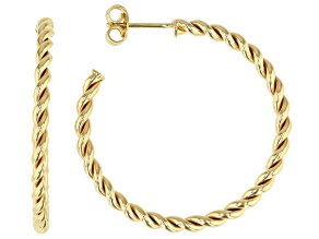 14K Yellow Gold with Sterling Silver Core Torchon Tube Hoop Earrings