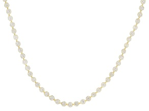 14K Yellow Gold White Cubic Zirconia Crochet D'Tuscano 18 Inch Necklace