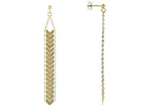 14K Yellow Gold Dangle Chevron Earrings