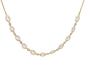 14K Yellow Gold White Cubic Zirconia Crochet D'Tuscano Station Necklace