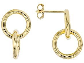 14K Yellow Gold Intertwined Tube Circle Dangle Stud Earrings