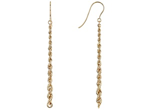 14K Yellow Gold Graduated Rope Link Dangle Earrings