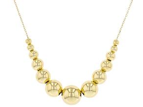 18K Yellow Gold Graduated Diamond-Cut Bead Necklace