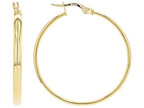 18K Yellow Gold 3x30MM Giotto Tube Hoop Earrings