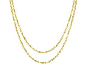 14K Yellow Gold Set of 2 Diamond-Cut 0.65MM Tessuto Singapore 18 and 20-Inch Chains