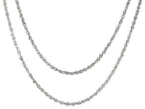 14K White Gold Set of 2 Diamond-Cut 0.65MM Tessuto Singapore 18 and 20-Inch Chains