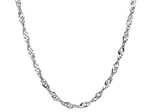 14k White Gold Hollow Singapore Link Necklace 20 inch