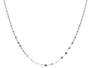 14k White Gold Hollow Mirror Link Sliding Adjustable Chain Necklace 24 inch