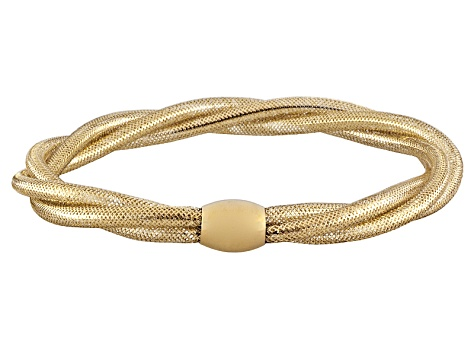 Splendido Oro™ 14k Yellow Gold Round Braided Stretch Bangle   Made in Italy