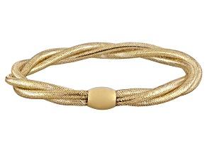 Splendido Oro™ 14k Yellow Gold Round Braided Stretch Bangle   Made in Italy