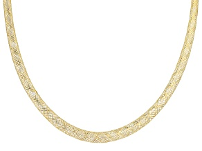 14k Yellow Gold Graduated Mesh Omega Necklace 20 inch