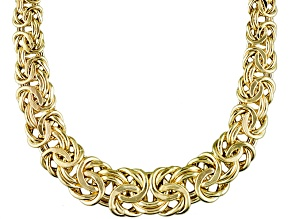 14k Yellow Gold Hollow Graduated Byzantine Link Necklace 18 inch