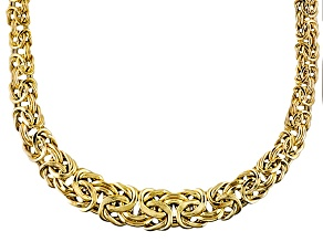 14k Yellow Gold Hollow Graduated Byzantine Link Necklace 20 inch