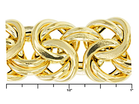 14k Yellow Gold Hollow Graduated Byzantine Link Bracelet 8 inch
