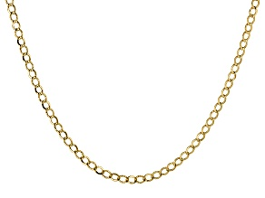 14k Yellow Gold Hollow Curb Link Chain Necklace 24 inch