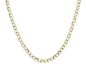 14k Yellow Gold Hollow Curb Link Chain Necklace 20 inch
