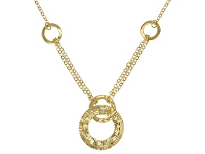 14k Yellow Gold Hollow Diamond Cut Geo Necklace 18 inch