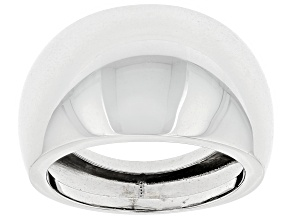 14k White Gold Hollow Polished Dome Ring