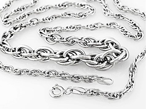 14k White Gold Hollow Graduated Rope Link Necklace 18 inch
