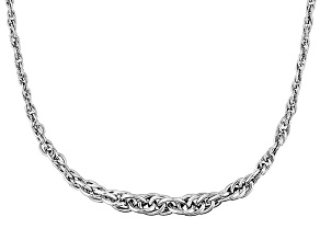 14k White Gold Hollow Graduated Rope Link Necklace 20 inch