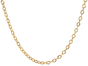 14k Yellow Gold Cable Link Chain Necklace 24 inch 4mm