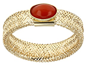 Coral Cabochon 14k Yellow Gold Hollow Mesh Link Stretch Ring